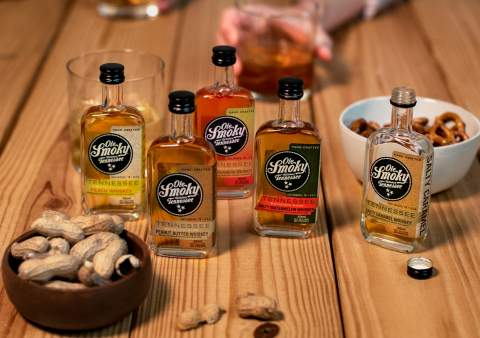 Ole Smoky Distillery now has five of their innovative whiskey offerings available in mini 50ML bottles, Salty Caramel Whiskey, Mango Habanero Whiskey, Peanut Butter Whiskey, Peach Whiskey and Salty Watermelon Whiskey. (Photo: Business Wire)
