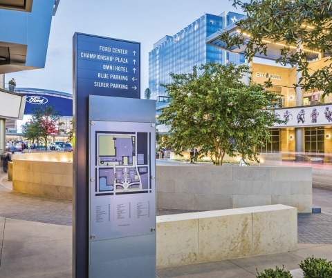 """RSM Design collaborated with the Dallas Cowboys to craft an experience that celebrates and honors both the players and the fans at their headquarters and entertainment complex in Frisco, Texas. Complementing the iconic blue star logo, RSM Design created a memorable and navigable exterior wayfinding and signage system. The sign family includes large scale pylons and digital integration, enhancing an exciting environment worthy of """"America's Football Team."""""""