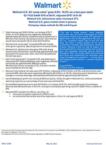 Walmart reports Q1 FY22 earnings