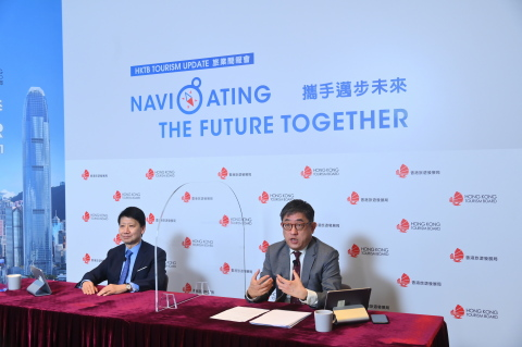 HKTB Chairman Dr YK Pang (left) and Executive Director Mr Dane Cheng (right) shared their analysis of recent tourism trends and HKTB's latest strategic planning. (Photo: Business Wire)