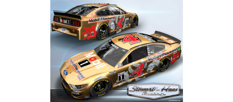 NASCAR driver Kevin Harvick will run a special golden paint scheme decked out with dollar bills on the No. 4 Ford Mustang at the Circuit of the Americas this Sunday, May 23. (Photo: Business Wire)
