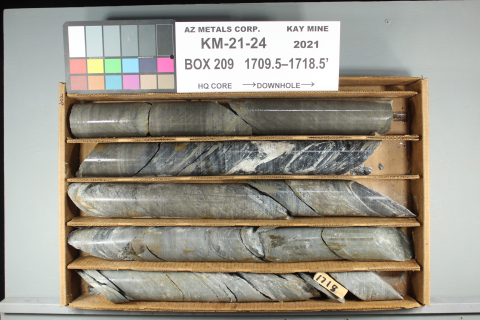 Figure 2. Hole KM-21-24 displaying interval from 520.9 m to 521.7 m downhole, containing 0.8 m of 33.4 g/t AuEq (comprised of 16.5 g/t gold, 574 g/t silver, 1.75% copper, 1.22% lead, and 9.55% zinc). See Table 2 for constituent elements and grades of AuEq g/t. (Photo: Business Wire)