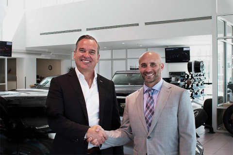 Kevin Kutschinski, CEO of Foundation Automotive Corp., and Josh Letis, managing partner of Medved Autoplex, celebrate their newest dealership acquisition. Foundation Hyundai is the first Hyundai dealership in the booming automotive group. (Photo: Business Wire)