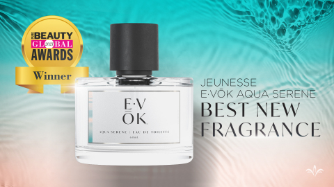 E·VŌK Aqua Serene is an aromatic floral fragrance that melds carefully curated pure French lavender essential oil with comforting musk notes of amber and cedar. The scent is enhanced with an innovative Phytogaia® accord that has the power to bring scientifically proven benefits such as helping one to feel an array of emotions. (Photo: Business Wire)