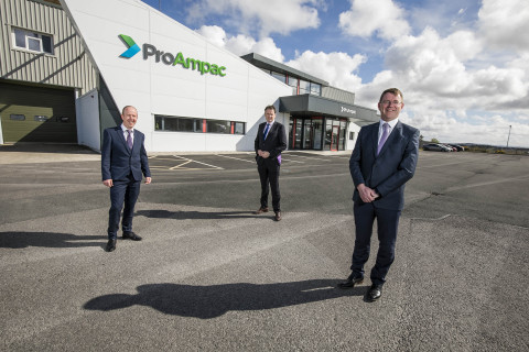 STRATEGIC PARTNERSHIP: In County Donegal, Ireland, for May 17, 2021 announcement of the new contract establishing ProAmpac as the strategic supplier of flexible packaging for C&D Foods, the pet food division of ABP Food Group are (l to r) John McDermott, Operations Director, ProAmpac; Charlie McConalogue, Minister for Agriculture, Food and The Marine; and Colm Dore, Managing Director, C&D Foods. (Photo: Business Wire)
