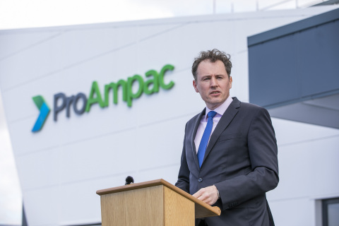 COUNTY DONEGAL: Ireland Minister for Agriculture, Food and The Marine, Charlie McConalogue, addressing business and government leaders at the May 17, 2021 announcement of the multi-million Euro contract establishing ProAmpac as the strategic supplier of flexible packaging for C&D Foods, the pet food division of ABP Food Group (Photo: Business Wire)