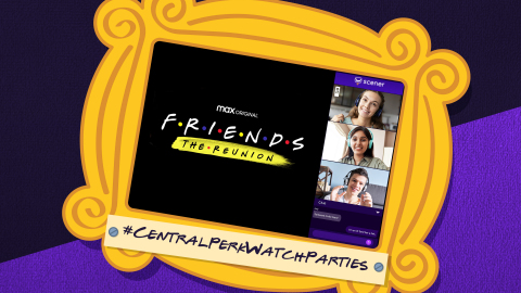 Scener and HBO Max Present The 'Friends: The Reunion' Virtual Watch Party Couch (Graphic: Business Wire)