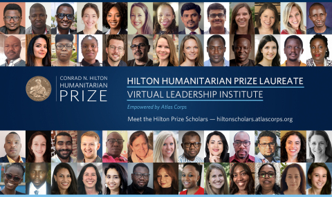 On May 20, the Conrad N. Hilton Foundation and Atlas Corps announced the inaugural cohort of the Hilton Humanitarian Prize Laureate Virtual Leadership Institute. To learn more about the Institute and Hilton Prize Scholars, visit http://hilton.atlascorps.org/. (Graphic: Business Wire)