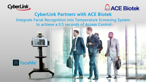 CyberLink Partners with ACE Biotek Integrate Facial Recognition into Temperature Screening System to achieve a 0.5 seconds of Access Control (Photo: Business Wire)