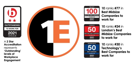 1E Achieves Outstanding Level of Workplace Engagement, Earns Prestigious Rankings on Three Best Companies Lists (Graphic: Business Wire)