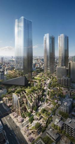屋上緑化が施された虎ノ門・麻布台プロジェクトの低層棟(イメージ) (画像:ビジネスワイヤ)