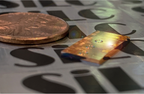 SiLC's fully-integrated FMCW 4D Imaging chip next to a U.S. one cent coin. (Photo: Business Wire)