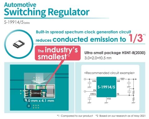 S-19914/5-Serie, ultra-kleiner Abwärtsschaltregler für die Automobilindustrie mit im Vergleich zur Vorgängerserie auf 1/3 reduzierter leitungsgebundener Störausstrahlung (Grafik: Business Wire)