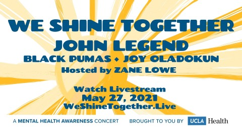 The one-of-a kind free benefit concert will stream live from Los Angeles via the 'We Shine Together' website on Thursday, May 27 at 6:00 PM PDT/9:00 PM EDT and will be hosted by Zane Lowe. (Graphic: Business Wire)