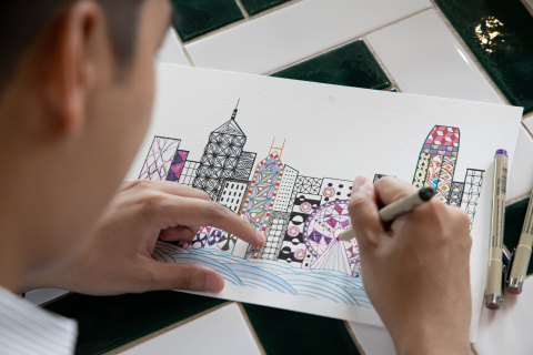 Participants try their hand at Zentagle and bring Hong Kong's skyline to life (Photo: Business Wire)