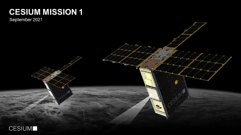 Render of Cesium's Mission 1 (CM1), which will consist of two 6U CubeSats. (Source: CesiumAstro)