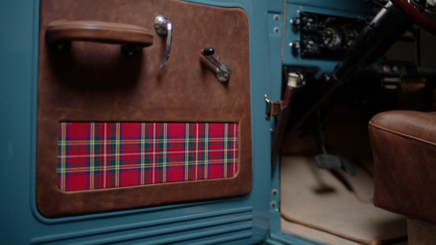 Interior of the 1946 Schwab Power Wagon with inspiration from the fabric of the Scottish royal tartan plaid jacket that is also given to the winner of the Charles Schwab Challenge. (Photo: Business Wire)