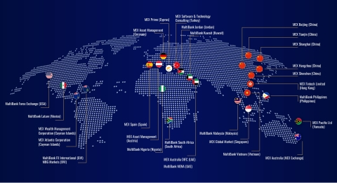 The MultiBank Group maintains 25 branches worldwide, in Australia, Germany, Austria, Spain, Cyprus, USA, Mexico, UAE, Kuwait, Jordan, Turkey, South Africa, Nigeria, China, Hong Kong, Singapore, Malaysia, Philippines, Vietnam, British Virgin Islands, Cayman Islands and Vanuatu. (Graphic: Business Wire)