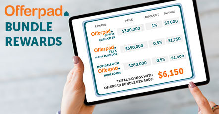Offerpad continues to streamline and simplify home buying and selling for customers by introducing Bundle Rewards. Now in metro Phoenix, customers can receive multiple discounts when simultaneously selling and buying a home with Offerpad, and by obtaining their home loan with Offerpad Home Loans. The more Offerpad services a customer uses, the more they can save. (Graphic: Business Wire)