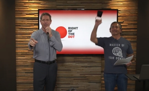 World Champion Auctioneer Wayne Wheat and RightOfTheDot CEO Monte Cahn conducting a live auction. (Photo: Business Wire)