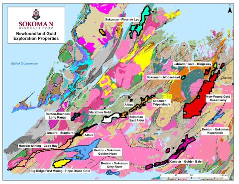 Newfoundland Gold Exploration Properties (Graphic: Business Wire)