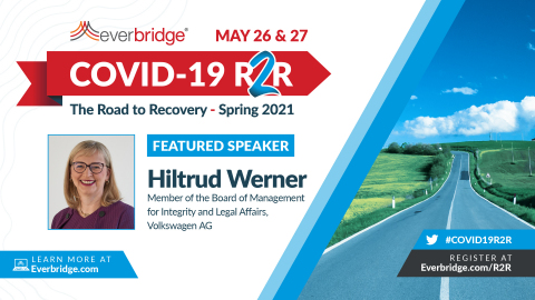 Hiltrud Werner, Volkswagen Group Board of Management Member for Integrity and Legal Affairs, to Speak at Everbridge COVID-19: Road to Recovery (R2R) Executive Summit (Photo: Business Wire)