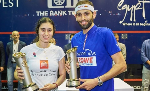 World number 1 Nour El Sherbiny (left) and world number 2 Mohamed El Shorbagy (right) claimed the El Gouna Squash Open trophy (Photo: AETOSWire)