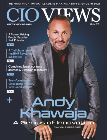 """Dr. Andy Khawaja on the cover of CIO Views as """"A Genius of Innovation'. (Photo: Business Wire)"""