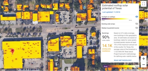 Figure 2: Project Sunroof's Solar Irradiation Rendering of the FR8T Yard and nearby businesses (www.google.com/get/sunroof). (Graphic: Business Wire)