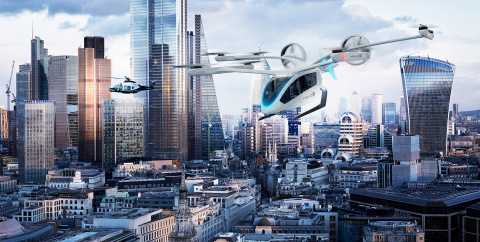 Halo becomes the first global provider for private urban air mobility with a 200 eVTOL (electric vertical take-off and landing) aircraft order from Embraer's Eve urban air mobility solutions. The order follows Directional Aviation's alignment of U.S.- and U.K.-based helicopter travel operators Halo Aviation and Associated Aircraft Group under the Halo brand within the OneSky Flight Portfolio of private aviation travel providers. The electric vertical take-off and landing aircraft have an expected delivery date in 2026. One hundred of the vehicles will be used for operations in the United States and 100 will operate in the United Kingdom. (Photo: Business Wire)