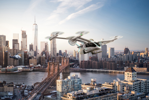Halo places an order for 200 eVTOL (electric vertical take-off and landing) aircraft from Embraer's Eve urban air mobility solutions. The order follows the alignment of U.S.- and U.K.-based helicopter travel operators Halo Aviation and Associated Aircraft Group under the Halo brand within Directional Aviation's OneSky Flight portfolio of private air travel providers. The electric vertical take-off and landing (eVTOL) aircraft have an expected delivery date in 2026. One hundred of the vehicles will be used for operations in the United States and 100 will operate in the United Kingdom. (Photo: Business Wire)