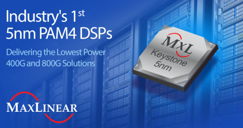 MaxLinear's Keystone Family of PAM4 DSPs deliver the industry's lowest power 400G and 800G solutions (Photo: Business Wire)