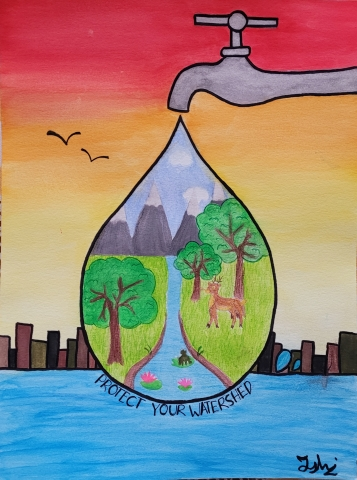 """Sixth-grader Ishi Gupta of South Fayette Middle School, Allegheny County, earned the grand prize for her artwork, which will be featured on the cover of Pennsylvania American Water's first-ever """"Protect Our Watersheds"""" wall calendar. The calendars will be printed and distributed across the Commonwealth later this year. (Photo: Business Wire)"""