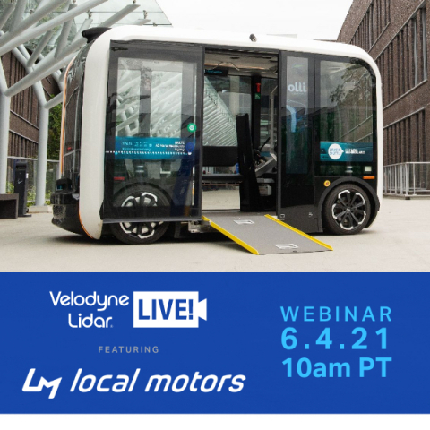 Velodyne Lidar announced new episodes of its digital learning series Velodyne Lidar LIVE! The June 4 episode will feature Kat Dransfield, Vice President, Product and Digital Platform Strategy at Local Motors. Dransfield will discuss global deployment of the Olli 2.0 self-driving vehicle and building next-generation 3D-printed vehicles at the Local Motors microfactory in Knoxville, Tenn. (Photo: Velodyne Lidar)