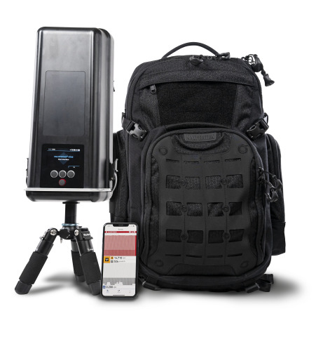 The Teledyne FLIR identiFINDER® R700 Backpack Radiation Detector is an advanced mobile system that offers unparalleled capability for broad-area radiological monitoring missions. With its connected mobile phone app and low-profile backpack, the R700 allows public safety officials to discreetly detect, identify, and track radiation threats at mass gatherings, transportation hubs, or public events. (Photo: Business Wire)