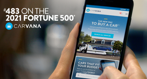 Carvana debuts as one of the youngest companies on the 2021Fortune 500® list. (Graphic: Business Wire)