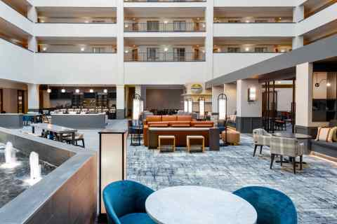 The newly branded Hilton Charlotte Airport at 2800 Coliseum Centre Drive in Charlotte is well prepared to welcome back guests as travel resumes. Our property's multimillion-dollar modern makeover is designed to delight guests and enrich their hotel experiences. Our hotel's updated look is stylish yet functional with redesigned public areas and guest suites with modern fixtures, wood finishes, and attractive textiles in soothing grays and blues. The Hilton Charlotte Airport features 28,300 square feet of newly renovated meeting space and is operated by Alpharetta, Georgia-based Atrium Hospitality, which is ranked as one of the nation's largest hotel operators. North Carolina is now home to five Atrium Hospitality-managed hotels branded as one of Hilton's world-class brands. (Photo: Business Wire)