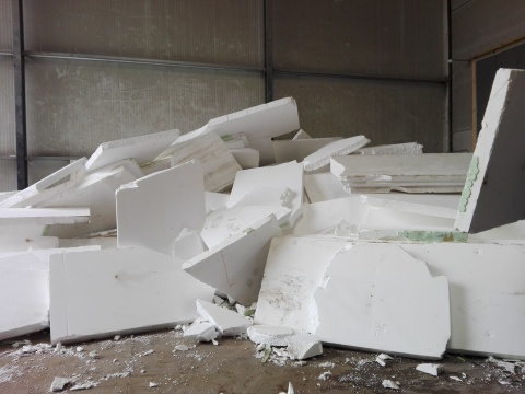 An example of expanded polystyrene (EPS) demolition waste waiting to be recycled by PolyStyreneLoop in Terneuzen, the Netherlands. (Photo: Business Wire)