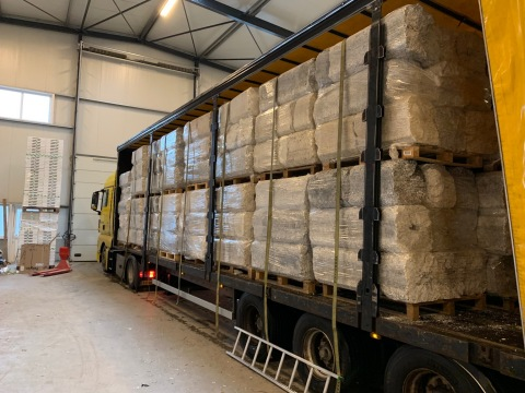 A shipment of compressed expanded polystyrene (EPS) arriving for recycling at the PolyStyreneLoop recycling plant in Terneuzen, the Netherlands. (Photo: Business Wire)