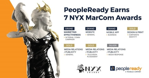 In recognition of its innovation and creativity in connecting people and work, staffing leader PeopleReady received seven NYX MarCom Awards presented by the International Awards Associate (IAA). (Graphic: Business Wire)