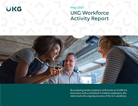 UKG (Ultimate Kronos Group) has published its Workforce Activity Report for May 2021. UKG high-frequency shift work data shows employee workplace activity increased 0.1% for May.