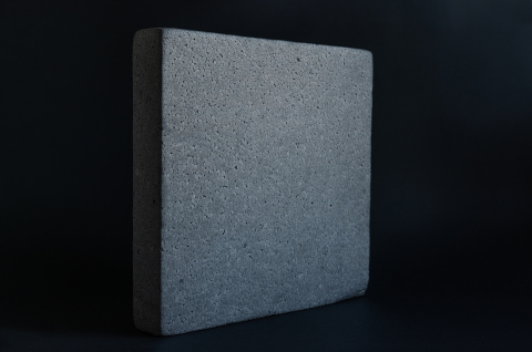 A block of expanded polystyrene (EPS) insulation made from EPS demolition waste recycled in the PolyStyreneLoop plant in Terneuzen, the Netherlands. (Photo: Business Wire)