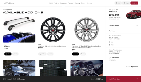 Digital Motors' platform allows dealerships to offer a customizable menu of vehicle-specific accessories to online shoppers. (Photo: Business Wire)