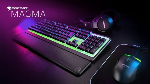 ROCCAT's all-new Magma Membrane PC gaming keyboard takes RGB lighting to new levels with its fully lit top plate, and the affordable $59.99 MSRP make it a great option for new gamers and anyone looking to step-up their desktop RGB setup. Available now at participating retailers worldwide. (Graphic: Business Wire)