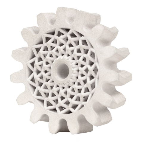 Herringbone gears, which are found in a variety of industrial machinery applications, benefit from the excellent hardness of 4140 low-alloy steel and can be lightweighted using complex lattice designs made possible by additive manufacturing, reducing material cost and reducing wear on external components, such as motors and bearings. This part can be mass produced on the Production System P-50 in quantities up to 200,000 per year with 120 parts nested in each build. (Photo: Business Wire)