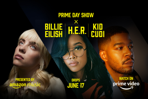 Amazon Announces The Prime Day Show Featuring Groundbreaking Artists Billie Eilish, H.E.R., And Kid Cudi In A Three-Part Musical Event For Fans Around The World (Graphic: Business Wire)