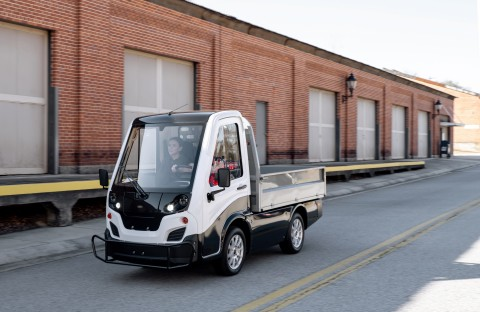 The Club Car Current is a compact all-electric light-duty truck equipped with automotive features and comforts. (Photo: Business Wire)