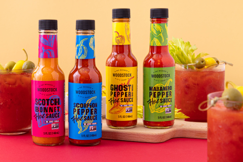 The new line of Woodstock hot sauce range from 1,790 to 57,000 Scoville units, are Non-GMO Project Verified®, and contain no added sugar. (Photo: Business Wire)