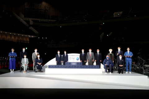 Procter & Gamble in Partnership with the Tokyo 2020 Organizing Committee and the International Olympics Committee officially unveils the podiums for the Olympic and Paralympic Games Tokyo 2020 medal award ceremonies. For the first time in history, the podiums were manufactured using recycled plastic contributed by the public and recovered from the oceans as part of the Tokyo 2020 Podium Project. (Photo courtesy of ©Tokyo 2020)