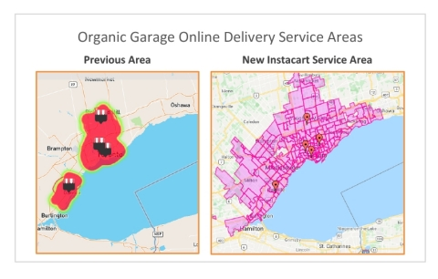 Comparison of Organic Garage's online delivery service areas.(Graphic: Business Wire)
